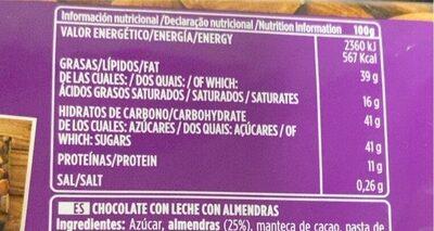 Chocolate con leche almendras - Voedingswaarden - es