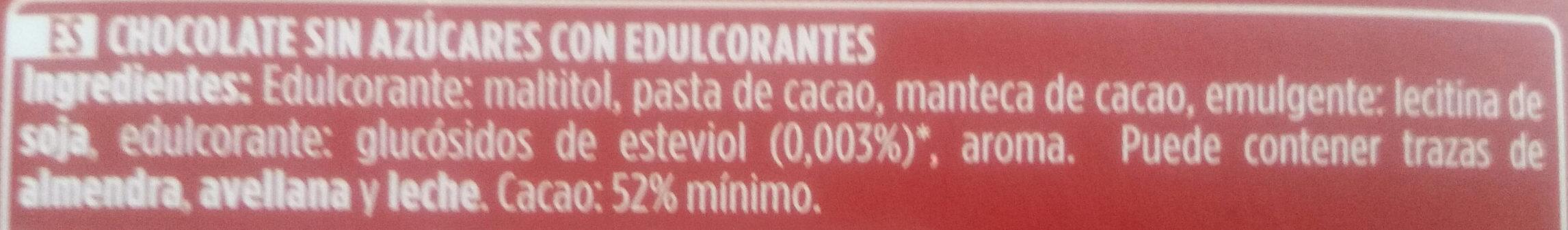 Chocolate Puro 0% azúcar añadido - Ingrediënten - es