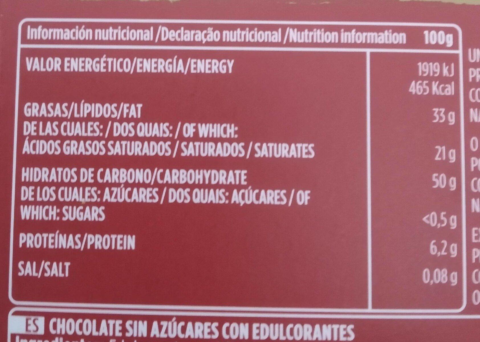Chocolate Puro 0% azúcar añadido - Voedingswaarden - es