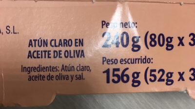Atún Claro en aceite de oliva - Ingredientes
