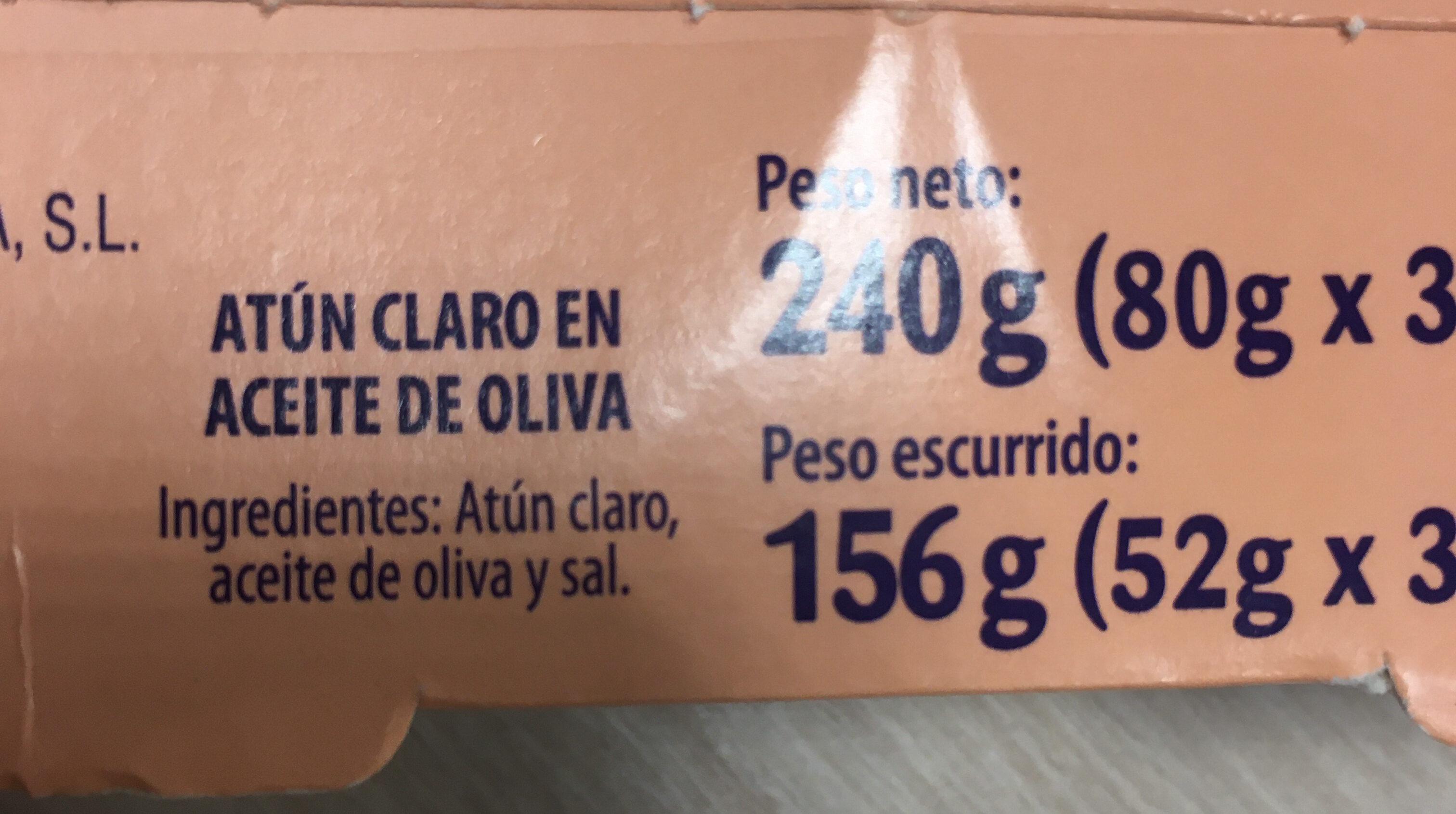 Atún Claro en aceite de oliva - Ingredientes - es
