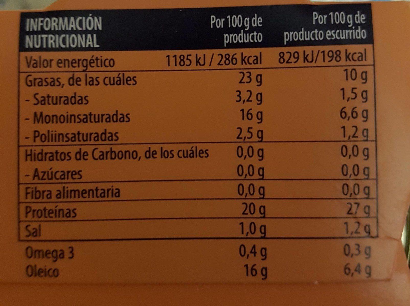 Atún claro en aceite de oliva - Informations nutritionnelles