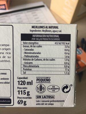 Mejillones al natural - Informations nutritionnelles