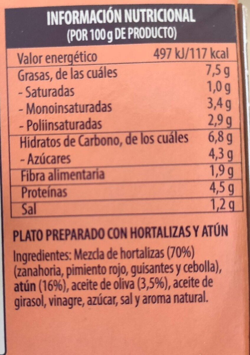 Vegetable medley with chunk light tuna - Nutrition facts - en