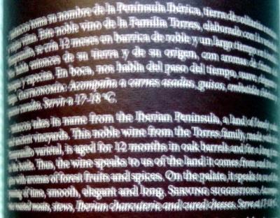 IBÉRICOS CRIANZA 2010 Rioja - Ingredientes
