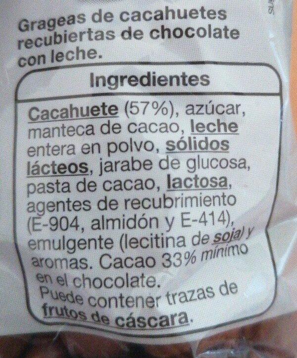 Cacahuetes con chocolate con leche - Ingredients - es