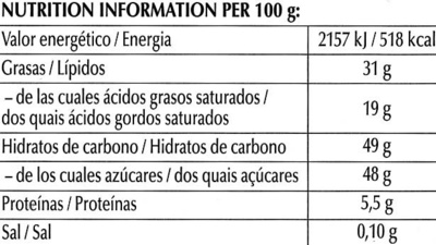 Chocolate negro suave 52% cacao - Informations nutritionnelles