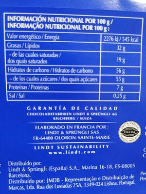 Chocolate con leche - Información nutricional - es