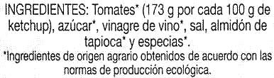 Ketchup de agricultura ecológica - Ingrediënten - es