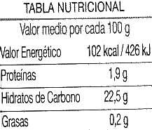 Ketchup de agricultura ecológica - Voedingswaarden - es