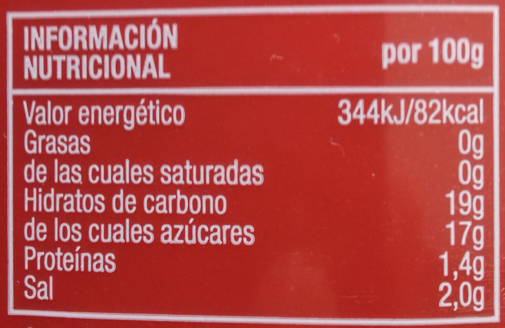 Ketchup sans gluten - Informations nutritionnelles - es