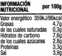 Mostaza americana sin gluten - Información nutricional