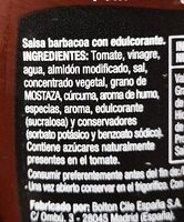 Salsa barbacoa cero sin azúcares añadidos sin gluten - Ingredientes - es