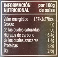 Salsa barbacoa cero sin azúcares añadidos sin gluten - Información nutricional - es