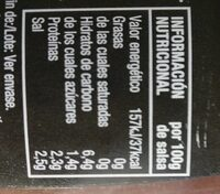 Salsa Barbacoa Prima Cero - Voedigswaarden