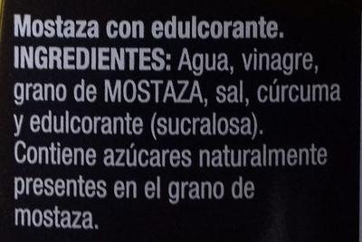 Mostaza Cero sin azúcares añadidos - Ingredientes