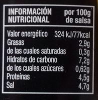 Mostaza Cero sin azúcares añadidos - Información nutricional