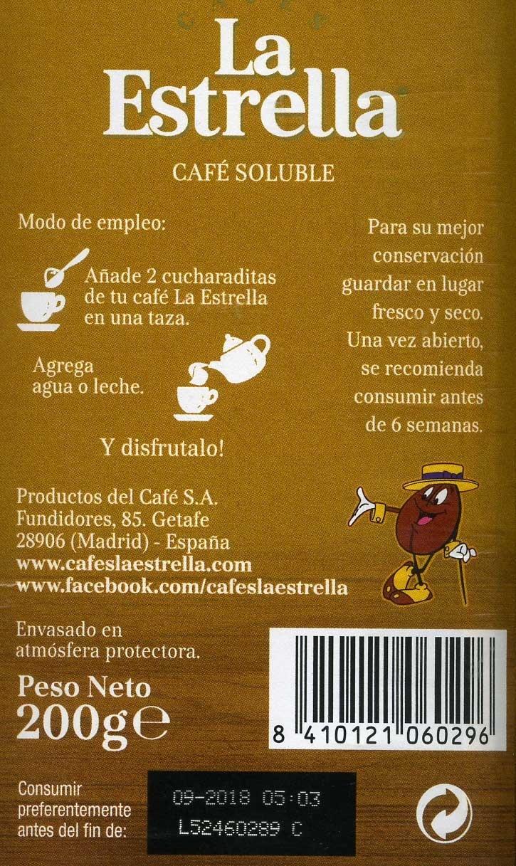 Café soluble - Informations nutritionnelles - es