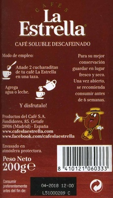Cafes la estrella - Información nutricional