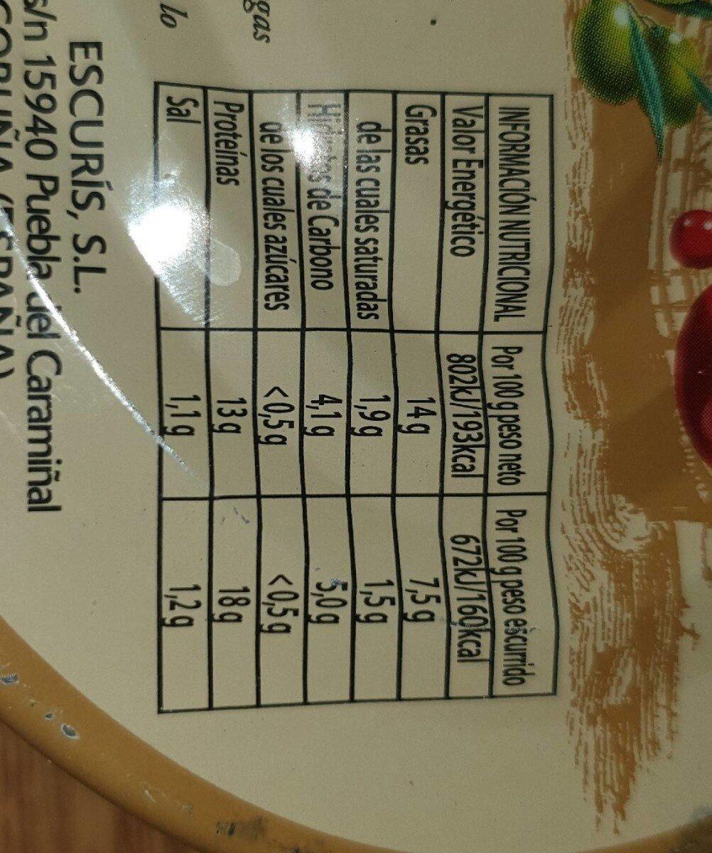 Mejillones en escabeche - Nutrition facts - es