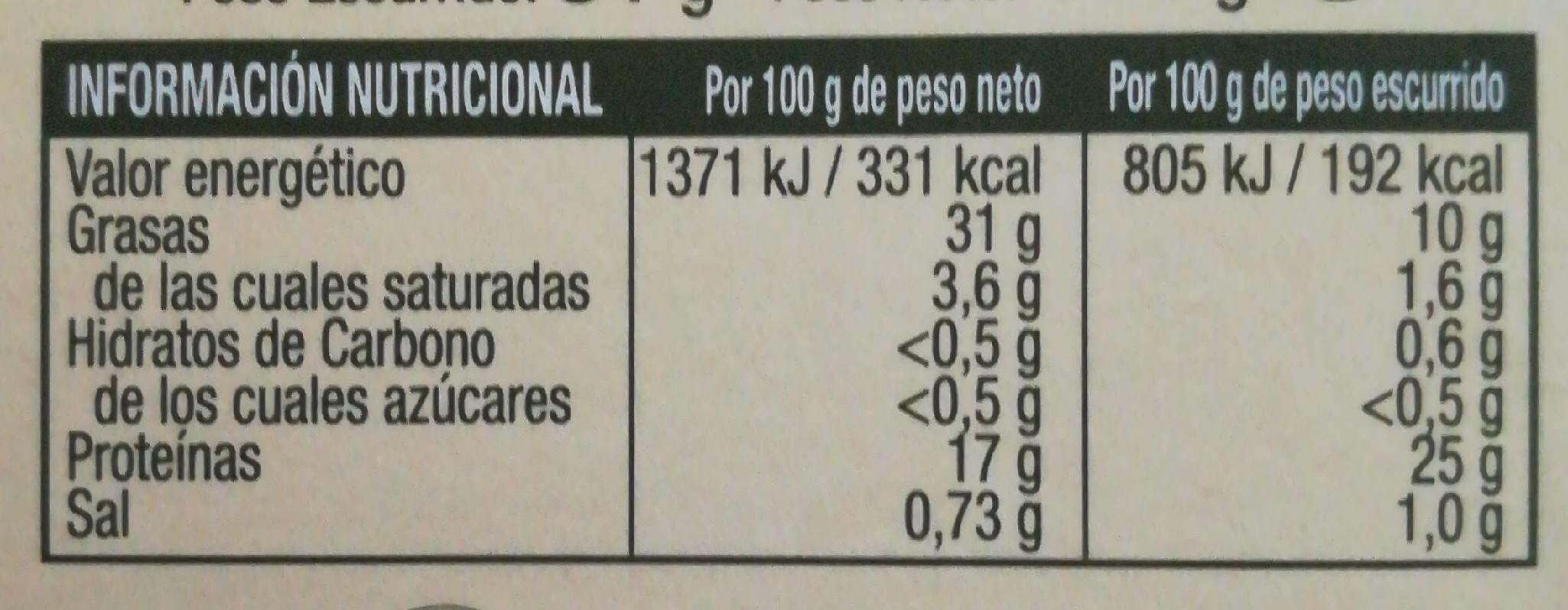 Bonito del norte costera aceite de oliva - Nutrition facts