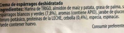 Las Cremas crema de espárragos sobre 70 g - Ingredientes - es
