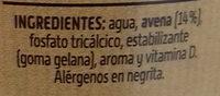 Bebida de Avena Sabor Natural - Ingredientes