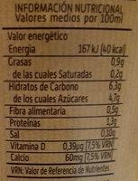 Bebida de Avena Sabor Natural - Información nutricional