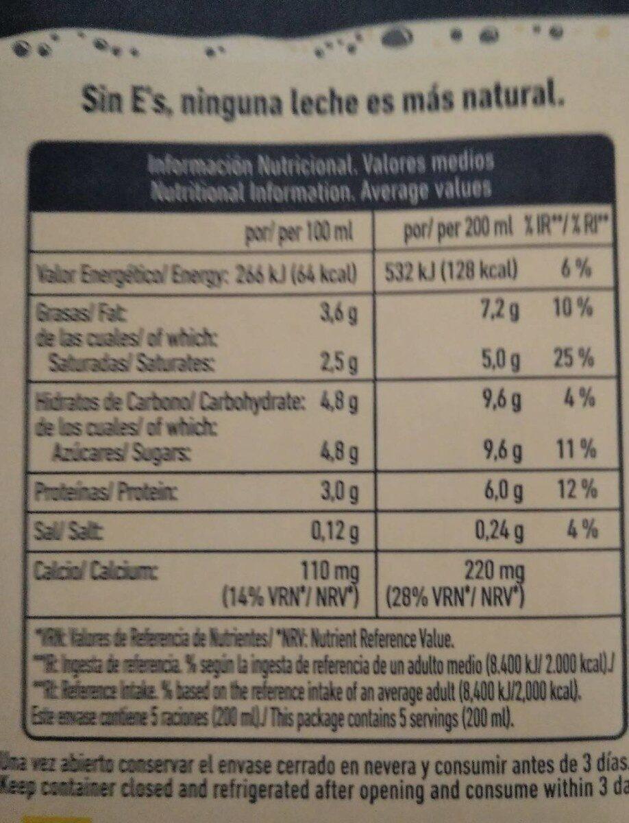Leche Pascual enters - Informations nutritionnelles - es