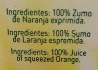 """Zumo de naranja exprimida sin pulpa """"Pascual Sólo Zumo"""" - Ingrédients"""
