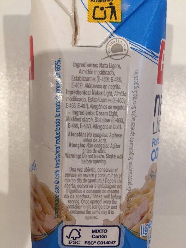 Nata líquida ligera para cocinar uht m.g. - Ingrédients - es