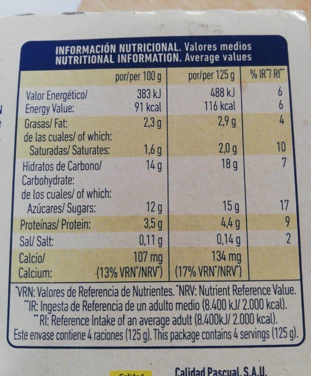 Yogurt natural azucarado sin lactosa - Informations nutritionnelles - es