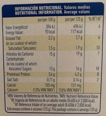 Yogur pasteurizado sabor fresa - Informació nutricional - es