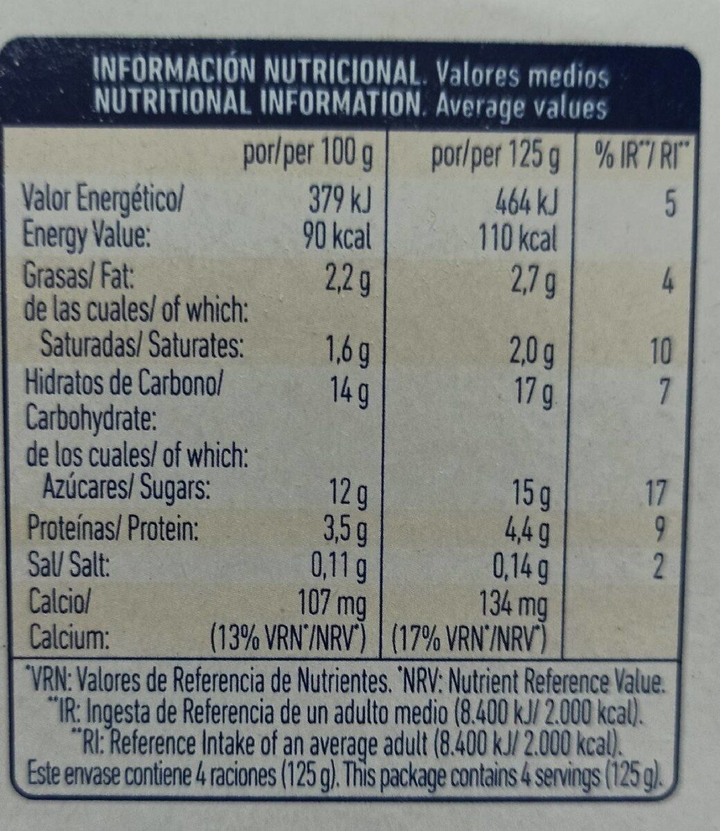 Yogur pasteurizado sabor fresa - Informations nutritionnelles - es