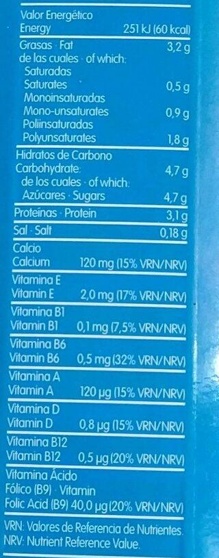 Leche Flora Entera Brick - Informations nutritionnelles - es