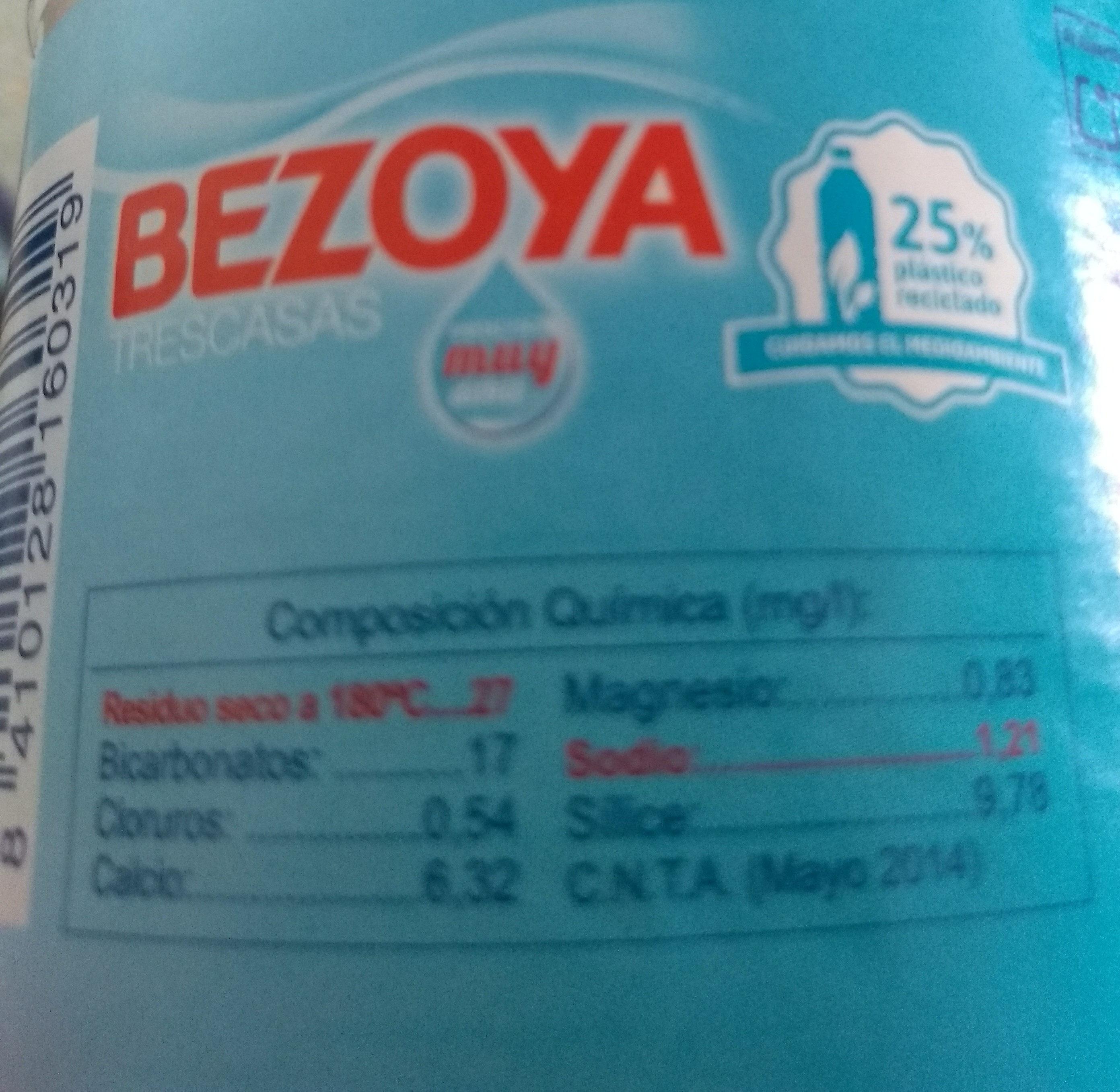 Agua mineral natural de mineralización muy débil - Nutrition facts - es