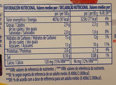 Yogikids - Informations nutritionnelles - es