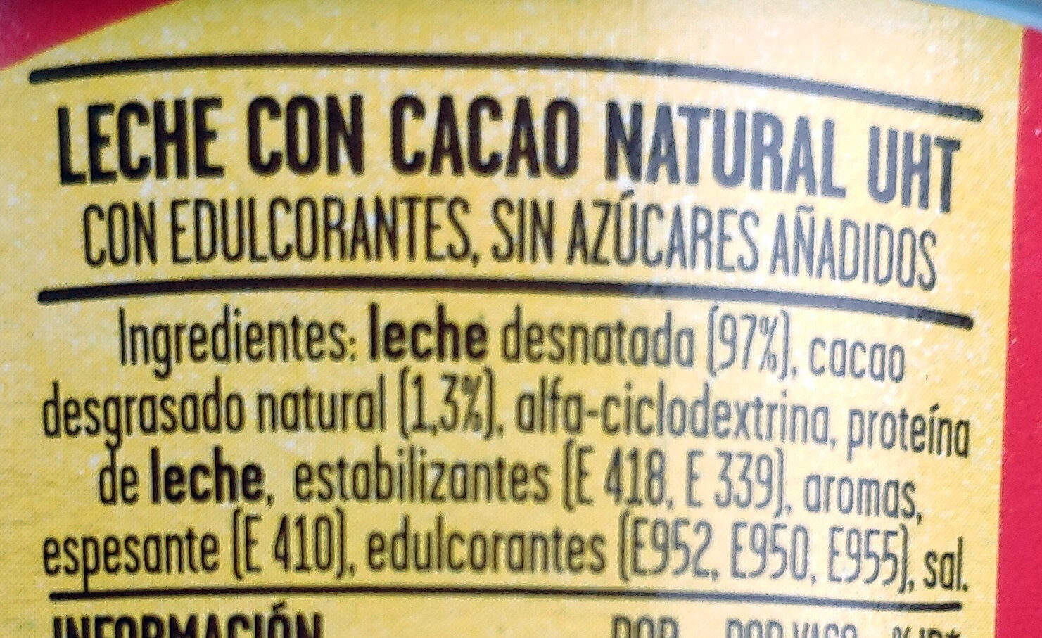ColaCao Shake 0% azúcares - Ingrediënten - es