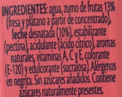 Bi frutas fresa y platano - Ingredients