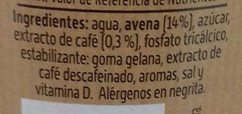 Bebida de Café + Avena - Ingredientes