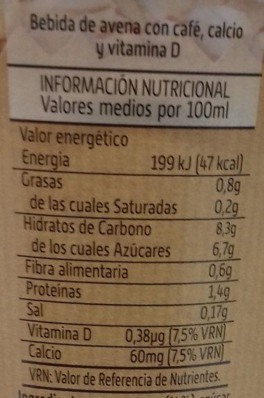 Bebida de café + avena - Informations nutritionnelles - es