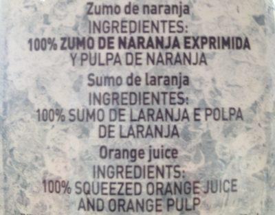 Zumo Pascual Naranja Pulpa - Ingrédients - fr