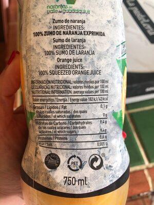 Zumo Refrigerado De Naranja Sin Pulpa Zumosol - Información nutricional - es