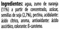 """Bebida de zumo y soja """"ViveSoy"""" Naranja - Ingredientes - es"""