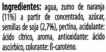 "Bebida de zumo y soja ""ViveSoy"" Naranja - Ingrediënten"