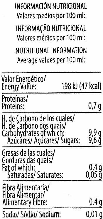 """Bebida de zumo y soja """"ViveSoy"""" Naranja - Información nutricional - es"""