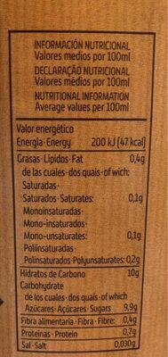 Bebida De Zumo De Piña Y Soja Con Azúcar De Caña Y Vitamina C - Informació nutricional - es