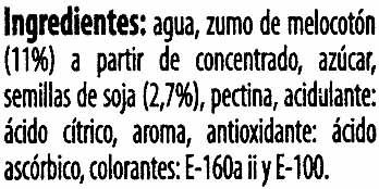 """Bebida de zumo y soja """"ViveSoy"""" Melocotón - Ingredientes"""