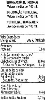 """Bebida de zumo y soja """"ViveSoy"""" Melocotón - Información nutricional"""