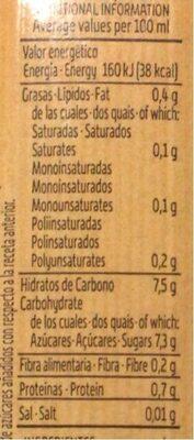 Bebida de zumo de piña & soja - Informació nutricional - es